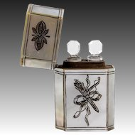 Antique French Mother of Pearl Clad Scent or Perfume Etui, Case with 2 Flasks, c.1700s