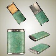 Superb c.1900-1920 Antique Art Deco Shagreen Match Vesta, Holder, Etui