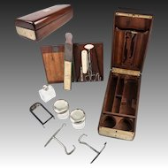 "Antique 1700s French Officer's Chest or Necessaire, Silver Jars, Flask, Tools, Boot Pulls: ""Fabrique du Roi"""