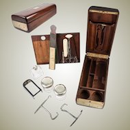 """Antique 1700s French Officer's Chest or Necessaire, Silver Jars, Flask, Tools, Boot Pulls: """"Fabrique du Roi"""""""
