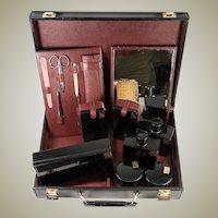 Splendid French Vanity Travel Valise, Complete c.1940-50, Black Enamel, 18k Gold Monogram JPK