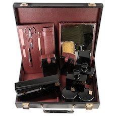 Splendid French Vanity Travel Valise, Complete c.1940-50, Black Enamel, 18k Gold Monogram JPK