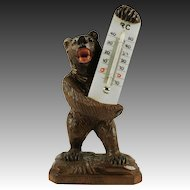 Antique Hand Carved Black Forest Bear Thermometer Stand, Milk Glass & Glass Eyes