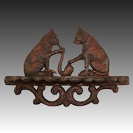 Antique Hand Carved Black Forest Pipe or Spoon Rack, Pair of Cats - RARE!