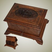 "Antique Hand Carved Black Forest 13"" Cigar Chest, Box, Server - 4 Trays for 32 Cigars"