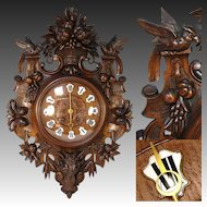 "HUGE Antique Victorian Era Black Forest Carved Oak 29.5"" Parlor Clock, French Style with Birds & RAM Figure"