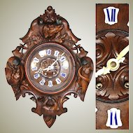 "LG Antique Victorian Era Black Forest Carved 25"" Wall or Parlor Clock, Hunt Theme with DOG, Fish & Fowl ++"