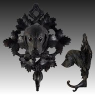 """RARE Antique Hand Carved 11.75"""" Black Forest Dog, Hound Crop or Hat Hook, Rack, Glass Eyes"""