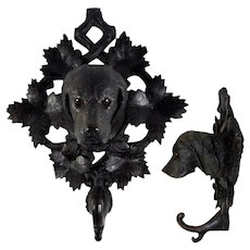 "RARE Antique Hand Carved 11.75"" Black Forest Dog, Hound Crop or Hat Hook, Rack, Glass Eyes"