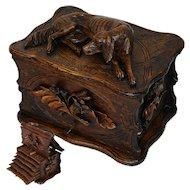 "Antique Black Forest 11.5"" Carved Cigar Chest, Box, Server - Large DOG Figural Top, 6 Trays for 60 Cigars"