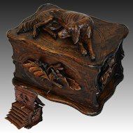 "Antique Black Forest 11.5"" Carved Cigar Chest, Box, Server - Large DOG Figural Top, 6 Trays for 60 Cigars"