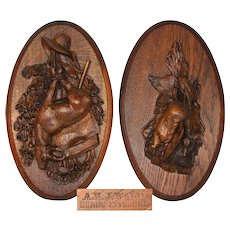 "Antique Black Forest Carved ""Fruits of Hunt"" Theme Wall Plaque PAIR, Chamois & Birds"
