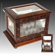 "Antique Black Forest 15.5"" Liquor Tantalus, Cave a Liqueur, ""Fruits of the Hunt"" Accents, Thick Beveled Glass"