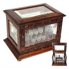 "Antique Black Forest 15.5"" Liquor Tantalus, Cave a Liqueur, ""Fruits of the Hunt"" Accents, Thick Beveled Glass"