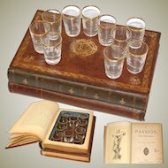 Antique French Leather Bound Books Mini Bar, Tantalus, 10 Shot Cup, Actual Gilt Embossed Text