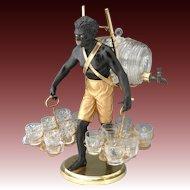 Rare Antique French Blackamoor Liqueur Cabaret or Serving Set, Figural c.1850-70