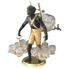 Rare Antique French Blackamoor Liqueur Cabaret or Serving Set, Figural c.1850-70