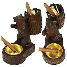 Charming Antique Black Forest Carved Smoker's Stand, Hiking Bear with Pack, Brass Ashtray