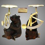 Charming Antique Black Forest Carved Bear Figure, Rare Desk Top Gram Postal Scale