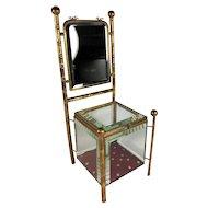 "Antique French 12.5"" Tall Miniature Chair Jewelry Box, Vitrine, Mirror, Doll Furniture"