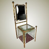 "Antique French 12.5"" Tall Miniature Chair Jewelry Box, Vitrine, Mirror, Doll Furniture"