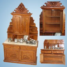 "Delightful Antique c. 1910 Miniature 26"" Doll Sized Hutch or Buffet, Carved Facade, White Onyx Counter Top"