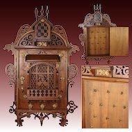 "Fabulous Antique Edwardian 25"" Key Cabinet, Scroll Cut Neo-Gothic Style with Gargoyles"