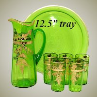 "Antique Moser Emerald or Green Glass 7pc Punch or Lemonade Service, Etched with Gold Enamel, 12.5"" Tray"