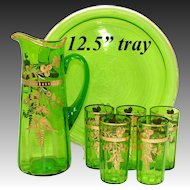 """Antique Moser Emerald or Green Glass 7pc Punch or Lemonade Service, Etched with Gold Enamel, 12.5"""" Tray"""