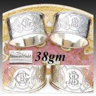 PAIR (2): Antique .800 (nearly sterling) Silver Napkin Rings, Guilloche Style Decoration