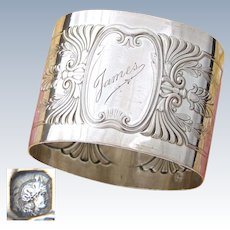 "Antique French Sterling Silver Napkin Ring, ""James"" Inscription, Aesthetic Style Decoration"