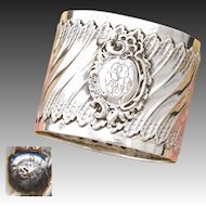 "Antique French Sterling Silver Napkin Ring, Ornate Louis XVI or Rococo Pattern, ""GB"" Monogram"