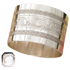 "Antique French Sterling Silver 2"" Napkin Ring, Classical Empire Palmette Bands, Eagles"