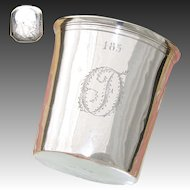 "Antique French Sterling Silver Wine or Mint Julep Cup, Tumbler ""Timbale"", 1819-1838 Hallmarks"