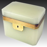 Antique French Opaline Sugar Casket, Box, Jewelry Chest, Napoleon III Era, c.1850s