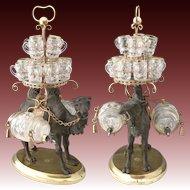 """Antique French Liqueur Set, 18.25"""" Tall Tantalus, Figural Camel & 2 Barrels, 12 Cups"""