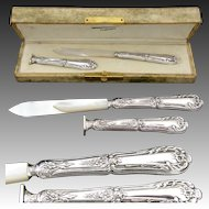 Antique French Sterling Silver Box Writer's Set: Pen, Letter Opener & Wax Seal in Box