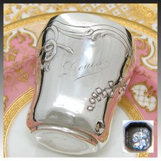 "Antique French Sterling Silver Wine or Mint Julep Cup, Tumbler ""Timbale"" Floral Decoration & ""Louis"" Inscription"