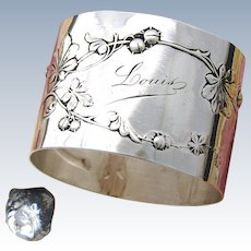 "Antique French Sterling Silver 1 7/8"" Napkin Ring, Raised Floral Decoration & ""Louis"" Inscription"
