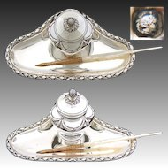 "Rare Antique French Sterling Silver 6"" Inkwell, Classical or Empire Style Laurel Garland"
