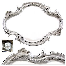 Elegant Antique French Sterling Silver Calling Card, Vanity, Cordials or Desk Tray, Rococo Style