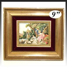 "Antique French Miniature Painting, ""The Shepherd's Gift"" by Francois Boucher in Gilt Wood Frame"