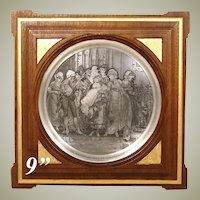 "Antique Intaglio Engraving on Metal in Gilt Mahogany Frame, ""The Christening"" by Frederik Hendrik Kaemmerer"
