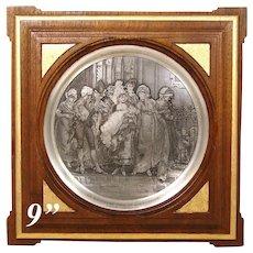 "Antique Intaglio Engraving on Metal in Gilt Mahogany Frame, ""The Christening"" by Frederik Hendrik Kaemmerer"