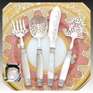 Elegant Antique French Sterling Silver & Mother of Pearl 4pc Hors d'Oeuvre Serving Set