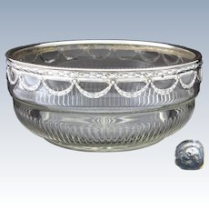 "Elegant Antique French 8"" Cut Glass Salad Bowl, PUIFORCAT Mark Sterling Silver Rim with Laurel Garland"