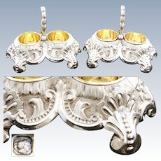 Stunning Antique French Sterling Silver & 18k Gold Vermeil Double Open Salt Caddy  *PAIR*