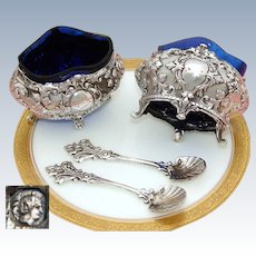 Elegant Antique French Sterling Silver 2pc Open Salt Set, Louis XVI Style, Cobalt Glass & Orig. Spoons