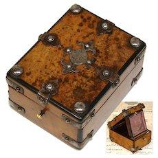 Antique French Napoleon III Era Pocket Watch Display Casket, Burled with Steel Corner Straps