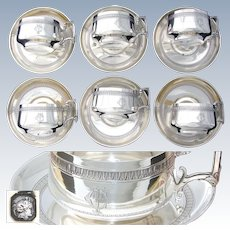 SET OF SIX Antique French Sterling Silver Chocolate, Coffee or Tea Cup & Saucer Set, 12pc, Classical Pattern